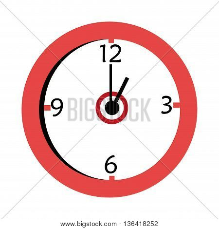 red and white wall clock front view over isolated background, vector illustration