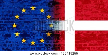 Image relative to politic relationships between European Union and Denmark. National flags textured by brick wall