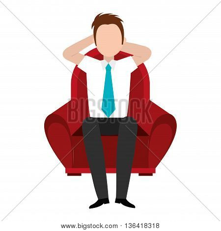 red seat with avatar man seat laying over isolated background, vector illustration