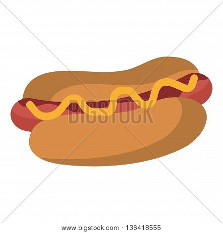 colorful hot dog with yellow salse over isolated background, fast food concept,  vector illustration
