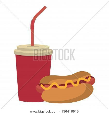 red cup and straw with hot dog front view over isolated background, fast food concept, vector illustration