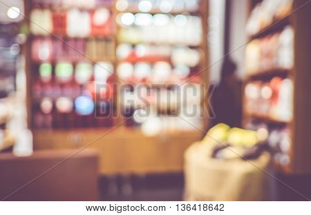 Blurred Background : Vintage Filter ,product Shelf In Coffee Shop Blur Background With Bokeh