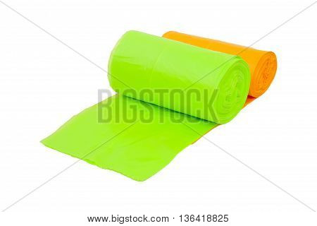 disposable trash bags roll isolated over white background This has clipping path