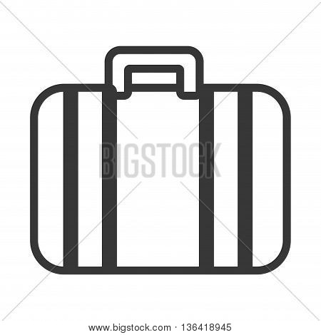 black and white travel suitcase front view over isolated background, vector illustration