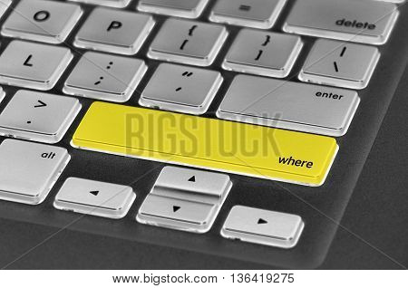 The Computer Keyboard Button Written Word Where