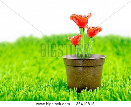 Red Flower Made Of Glass In Brown Flowerpot On Green Grass With White Background,spring Season