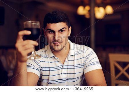 Handsome Man Raising Wine Glass in Toast