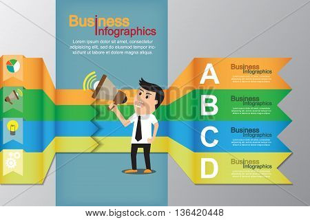 Minimal infographics with businessman promote his business market icons. vector illustration.