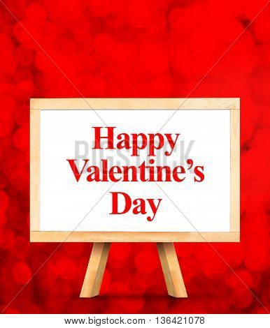 Whiteboard With Happy Valentines Day Word At Red Bokeh Light Background,love Concept