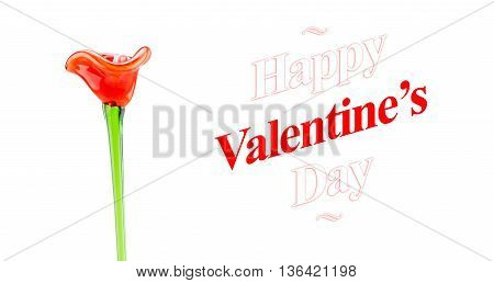 Happy Valentines Day Word With Red Glass Flower On White Background, Love Concept