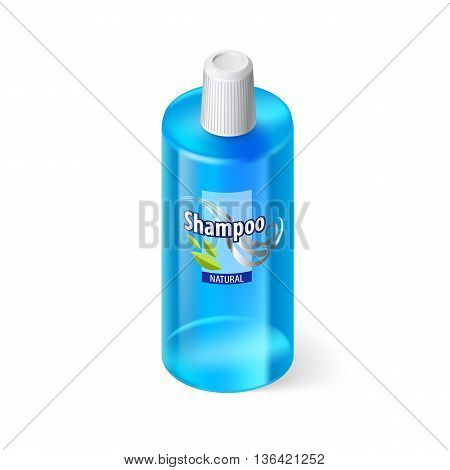 Single Blue Bottle of Shampoo with Lable