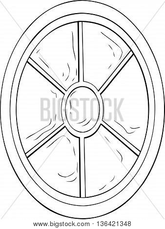 Outlined Oval Shaped Window Illustration
