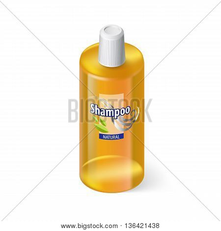 Single Yellow Bottle of Shampoo with Lable