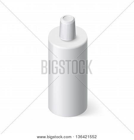 Single Bottle of Shampoo in Isometric Style on White