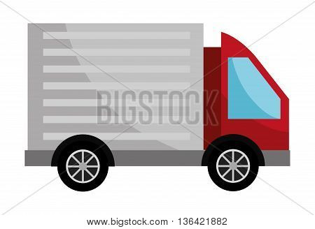 red cargo truck with grey container side view over isolated background, vector illustration