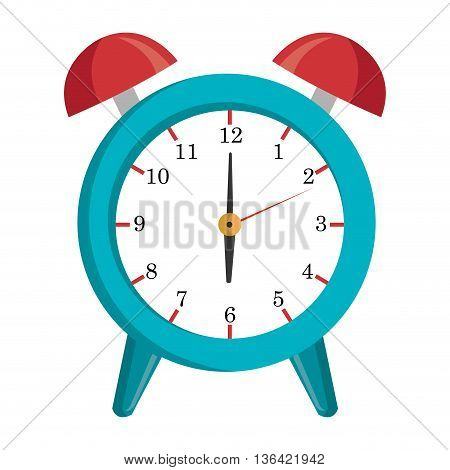red and blue table clock front view over isolated background, vector illustration