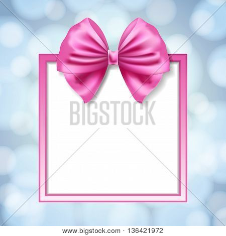 pink bow and square box frame on blurry light blue background. vector illustration