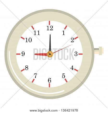 white old clock front view over isolated background, vector illustration