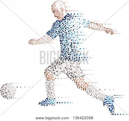 Abstract soccer player made with dots kicking the ball in white background