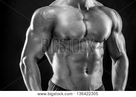 Close-up of man model torso posing showing perfect body. Black and white, b w