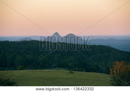 View from Dahmongah lookout in Mount Mee at dusk.