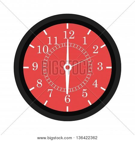black and red wall clock front view over isolated background, vector illustration