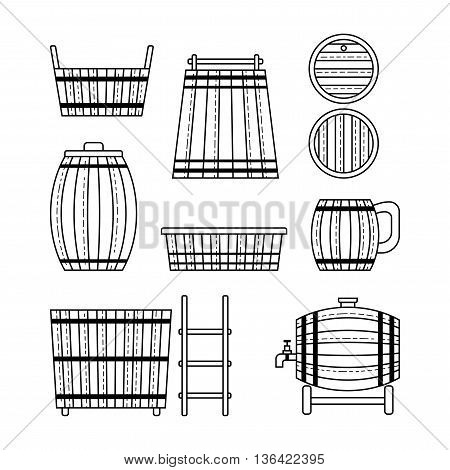 Set barrel, mug, wooden tub and other barrel products. Flat linear icons. Vector illustration