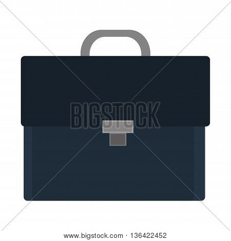 black and blue business suitcase front view over isolated background, vector illustration