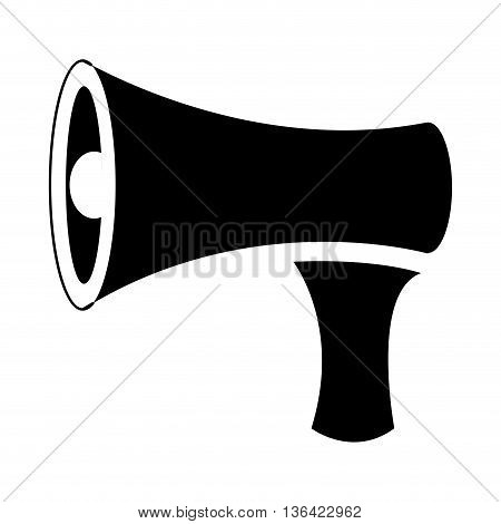 black and white speaker side view over isolated background, vector illustration