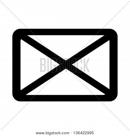 black and white mail envelope sign over isolated background, vector illustration