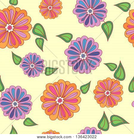 Cute floral background with bright colored flowers.