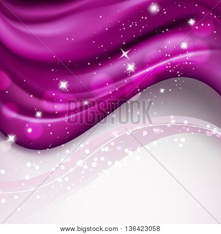 wavy silky purple background with sparkling particles. vector