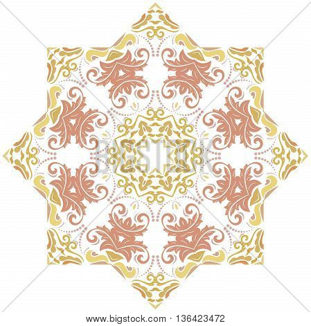 Oriental colorful round pattern with arabesques and floral elements. Traditional classic ornament