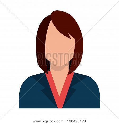avatar business woman wearing colorful clothes front view over isolated background, vector illustration