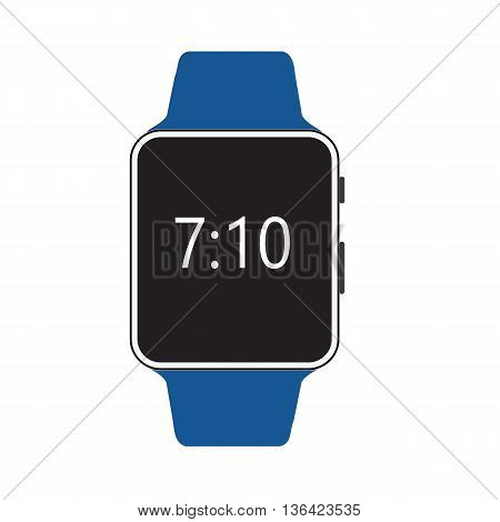 Smart watch isolated with icons on white background.