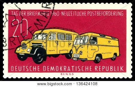 STAVROPOL RUSSIA - JUNE 24 2016: a stamp printed by Germany shows Modern Postal Trucks circa 1960
