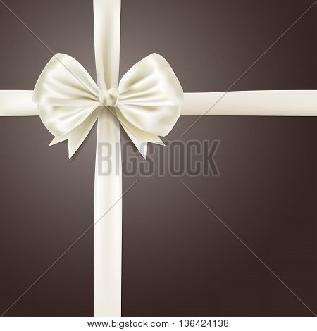 white silky bow ribbon background. vector illustration