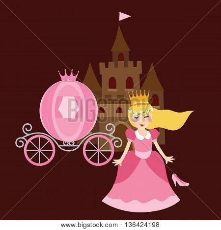 princess cinderela with shoes carriage and castle behind vector illustration