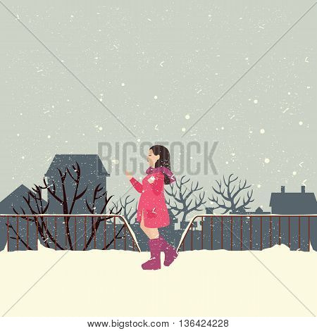 girls wearing jacket in snow enjoy cold weather vector illustration