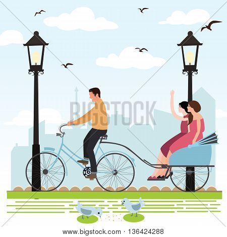 riding rickshaw in town tourist enjoy city scene vector illustration