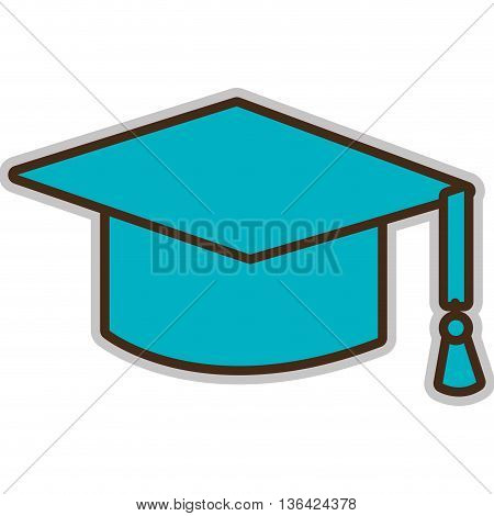 blue graduation hat front view over isolated background, vector illustration