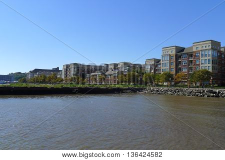Skyline of Port Imperial of Hudson River