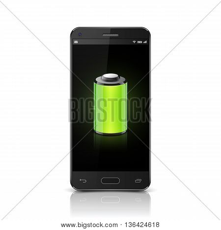 Smartphone with Full Battery icon, Mobile phone Full Battery. vector