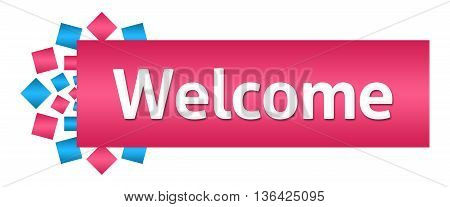 Welcome text written over pink blue background.