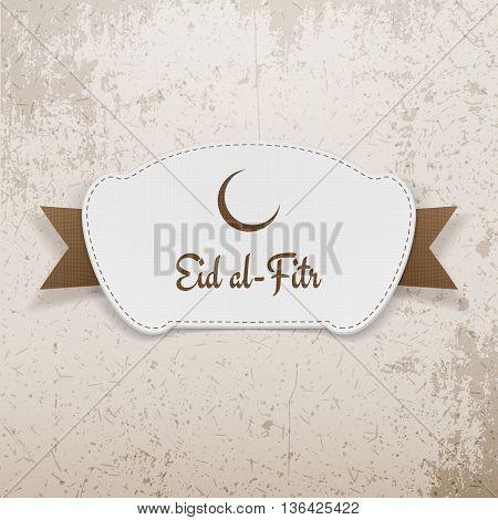 Eid al-Fitr festive paper Emblem. Vector Illustration