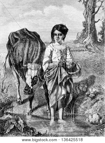1861 Exhibition of Painting, The Source by Mr. Schlesinger, vintage engraved illustration. Magasin Pittoresque 1861.