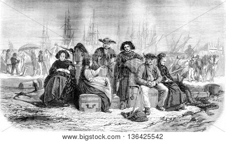 Painting Salon 1861, Migrants, by Th. Schuler, vintage engraved illustration. Magasin Pittoresque 1861.