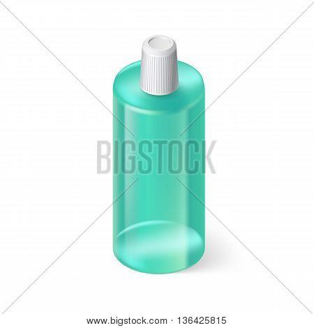 Single Aquamarin Bottle of Shampoo on White