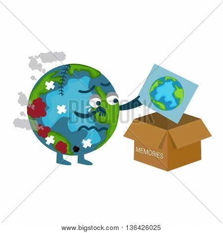 damaged earth cartoon throwing picture of previous better condition vector