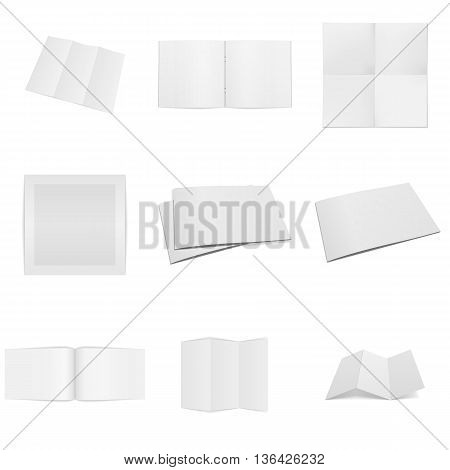 Business paper empty Mockups Set. Books, Paper Sheets, Frames and Notepads. Vector Illustration